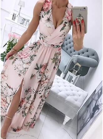Nadruk/Kwiatowy Bez Rękawów Sukienka Trapezowa Łyżwiaż Impreza Maxi Sukienki