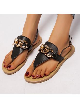 Women's PU Flat Heel Sandals Flats Flip-Flops Round Toe With Buckle Chain shoes