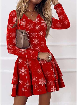 Boże Narodzenie Nadruk Długie rękawy Sukienka Trapezowa Nad kolana Nieformalny Łyżwiaż Sukienki