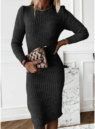 Jednolita Długie rękawy Pokrowiec Długośc do kolan Mała czarna/Casual Sweter Sukienki