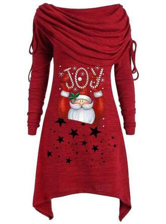 Nadrukowana Długie rękawy Koktajlowa Długośc do kolan Boże Narodzenie/Casual Tunika Sukienki