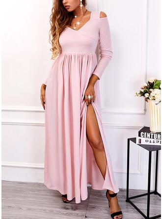Jednolity Długie rękawy cold ramion rękaw Sukienka Trapezowa Łyżwiaż Nieformalny Maxi Sukienki