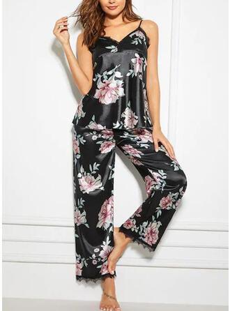 Spandex Koronka Kwiatowy Kantar Seksowny W serek Pociągający Zestaw do piżamy