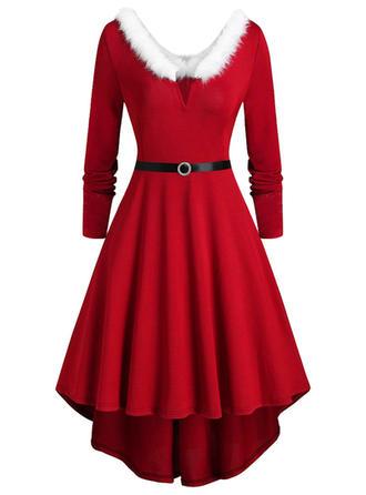 Jednolita Długie rękawy W kształcie litery A Długośc do kolan Boże Narodzenie/Przyjęcie Łyżwiaż Sukienki