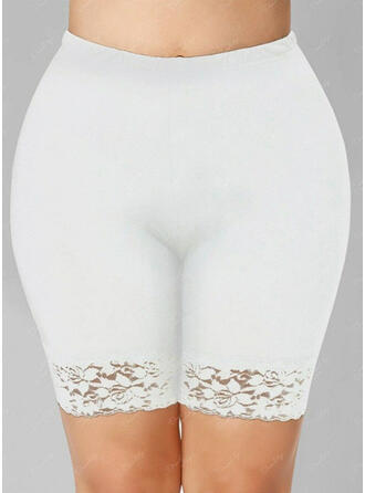 Jednolity Koronka Nad kolanem Nieformalny Duży rozmiar Żakard Spodnie Szorty Sztylpy