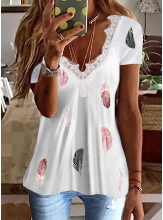 Nadruk usta Koronka Dekolt w kształcie litery V Krótkie rękawy T-shirty