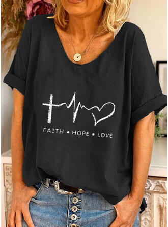 Figure Heart Print Round Neck Short Sleeves T-shirts