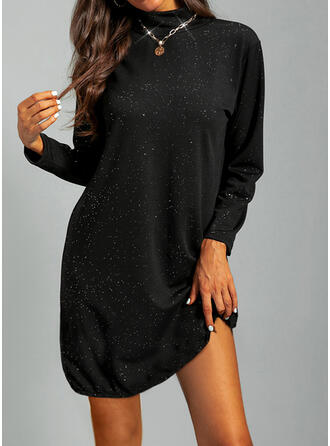 Jednolity Długie rękawy Suknie shift Nad kolana Mała czarna/Nieformalny Tunika Sukienki