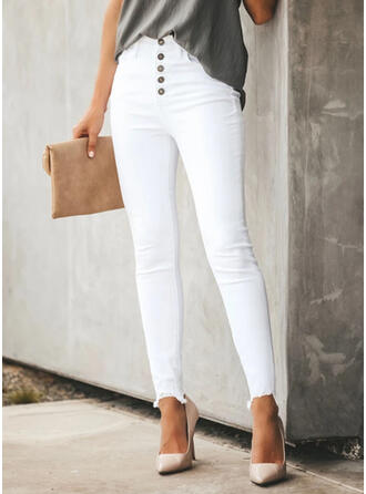 Solid Plus Size Elegant Plain Denim & Jeans