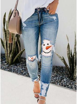 Nadruk imitacja jean Długo Nieformalny Wakacyjna Duży rozmiar Pocket Ripped Spodnie Dżinsy