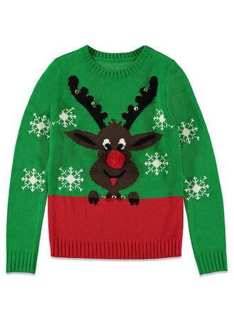 Unisex Poliester Blok Koloru Renifer Brzydki świąteczny sweter