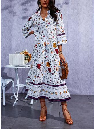 Nadruk Rękawy 1/2 Suknie shift Nieformalny Maxi Sukienki