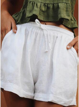Jednolity Bielizna Nad kolanem Nieformalny Pocket drawstring Spodnie Szorty