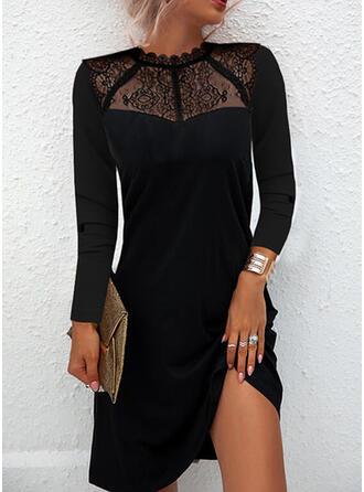 Jednolity Koronka Długie rękawy Suknie shift Nad kolana Mała czarna/Elegancki Sukienki