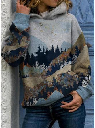 Nadruk Las Długie rękawy Bluza z kapturem