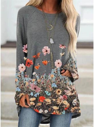 Kwiatowy Zwierze Okrągły Dekolt Długie rękawy Bluza