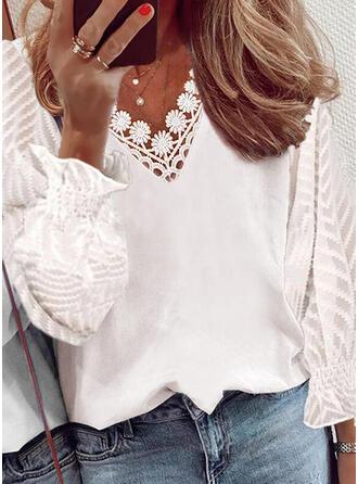 Jednolity Szyfon Koronka Dekolt w kształcie litery V Długie rękawy shim sleeve Elegancki Bluzki