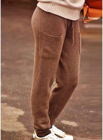 Jednolity Dzianina Długo Zabytkowe Duży rozmiar Pocket drawstring Spodnie Lounge