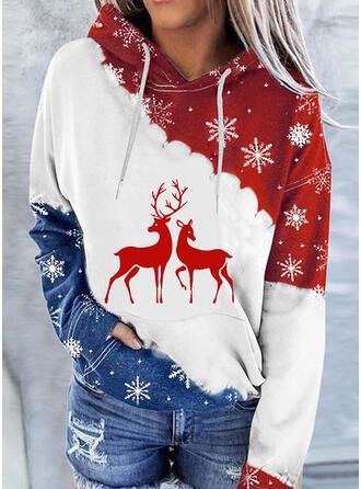 Boże Narodzenie Nadruk Blok Koloru Deer Bluza z kapturem Długie rękawy Bluza z kapturem
