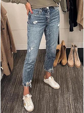 Jednolity Dżinsowa Przycięte Nieformalny Duży rozmiar Pocket Ripped Dżinsy
