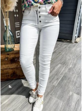 Jednolity Dżinsowa Długo Nieformalny Duży rozmiar Pocket Przycisk Spodnie