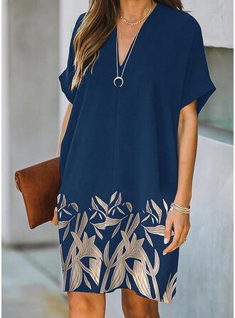 Nadruk/Kwiatowy Krótkie rękawy Suknie shift Długośc do kolan Nieformalny Tunika Sukienki