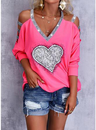 Nadruk Serce cekiny Zimne ramię Długie rękawy Bluza