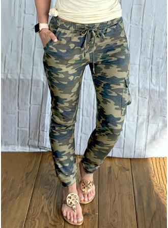 Kamuflaż Długo Nieformalny Duży rozmiar Pocket drawstring Spodnie