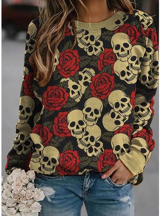 Halloween Nadruk Kwiatowy Okrągły dekolt Długie rękawy Bluza