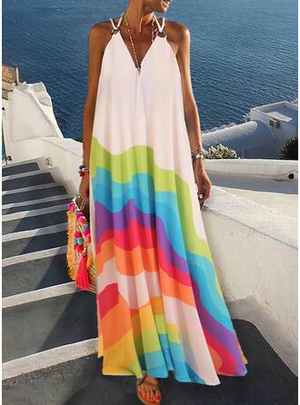 Color Block Sleeveless Shift Slip Casual/Vacation Maxi Dresses