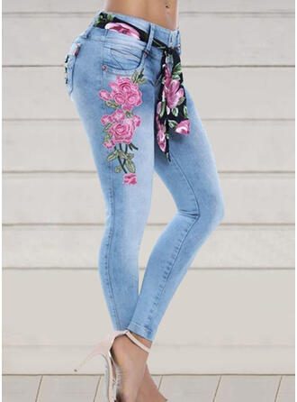 Embroidery Floral Plus Size Elegant Skinny Denim & Jeans