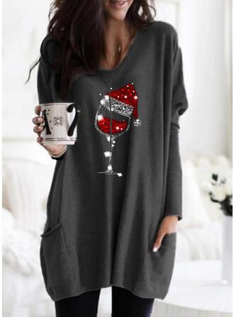 cekiny Dekolt w kształcie litery V Długie rękawy Świąteczna bluza