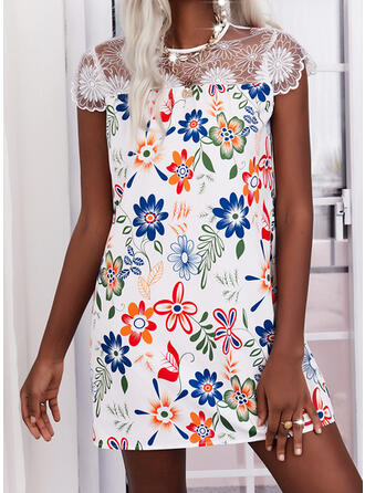 Nadruk/Kwiatowy Koronka cap sleeve Suknie shift Nad kolana Elegancki Sukienki