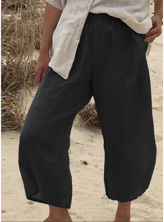 Solid Shirred Casual Solid Plain Pants
