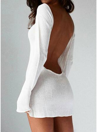 Jednolity Okrągły dekolt Casual Długie Seksowny Sukienka sweterkowa