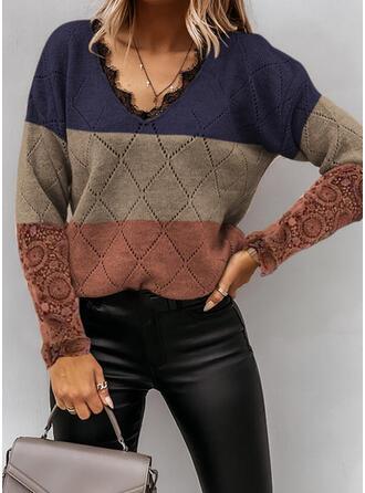 Blok Koloru Koronka Dekolt w kształcie litery V Nieformalny Swetry