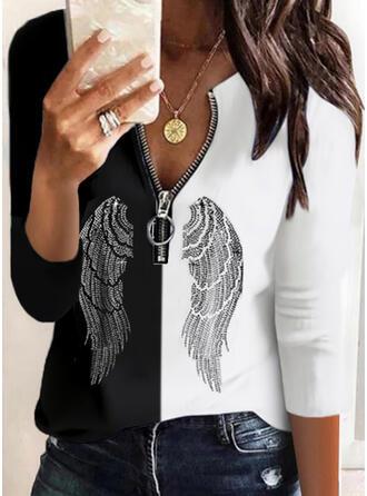 Blok Koloru cekiny Dekolt w kształcie litery V Długie rękawy Nieformalny Bluzki