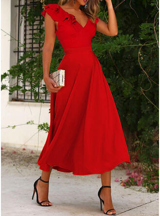 Jednolity Krótkie rękawy Small Latający Rękaw Sukienka Trapezowa Łyżwiaż Impreza/Elegancki Midi Sukienki