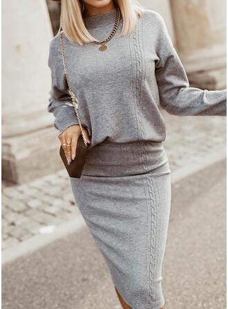 Jednolity Dzianina Długie rękawy Dropped Shoulder Bodycon Długośc do kolan Elegancki Sweter/Ołówkowa Sukienki