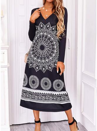 Nadruk Długie rękawy Suknie shift Boho Midi Sukienki