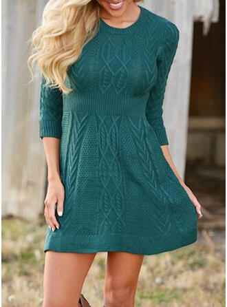 Jednolita Długie rękawy Pokrowiec Nad kolana Casual Sweter Sukienki