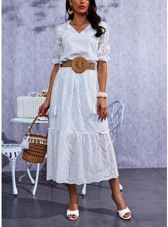 Jednolity Rękawy 1/2 Suknie shift Nieformalny Maxi Sukienki
