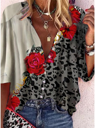 Print Floral Leopard V-Neck 3/4 Sleeves Button Up Casual Shirt Blouses