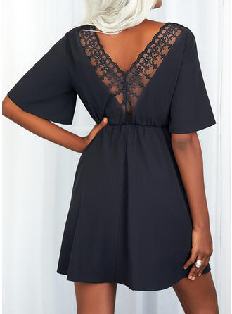 Jednolity Rękawy 1/2 Sukienka Trapezowa Nad kolana Mała czarna/Nieformalny Sukienki