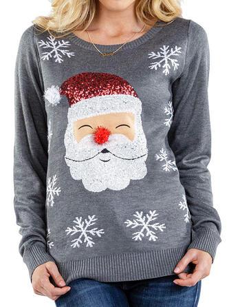 Damskie Poliester Wydrukować Święty Mikołaj Brzydki świąteczny sweter