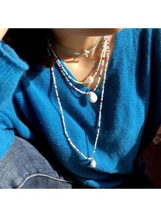 Vintage Cross Boho Geometric Luxurious Adjustable Natural Stone Alloy Imitation Pearls Glass Beads Women's Ladies' Necklaces Choker Necklace 4 PCS