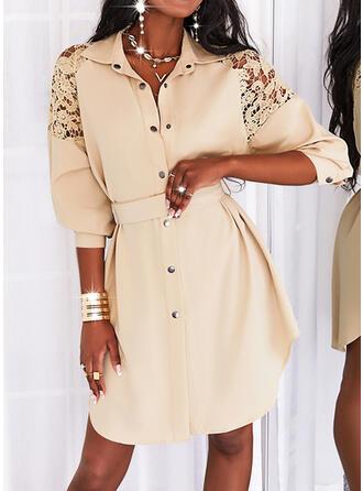 Jednolity Długie rękawy Sukienka Trapezowa Nad kolana Nieformalny Koszula/Łyżwiaż Sukienki