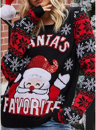 Damskie Akryl Kreskówka Brzydki świąteczny sweter