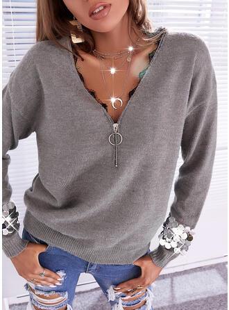 Jednolity Koronka cekiny Dekolt w kształcie litery V Nieformalny Swetry