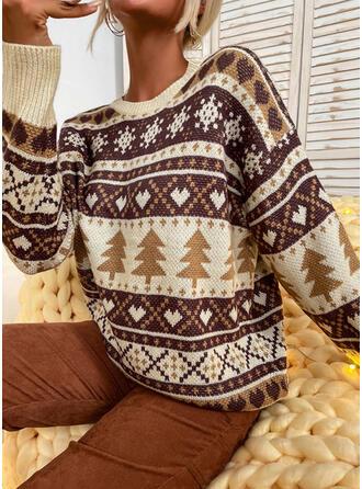 Nadruk Serce Okrągły dekolt Nieformalny Swetry